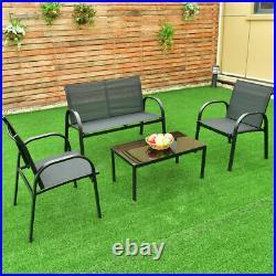 4 PCS Patio Furniture Set Sofa Coffee Table Steel Frame Garden Deck Black New