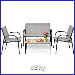 4 PCS Patio Furniture Set Sofa Coffee Table Steel Frame Garden Deck Gray New