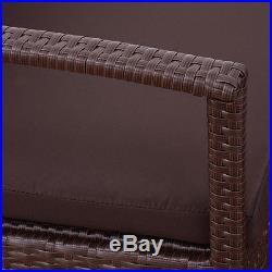 4 PCS Patio Rattan Wicker Furniture Set Loveseat Sofa Cushioned Garden Yard