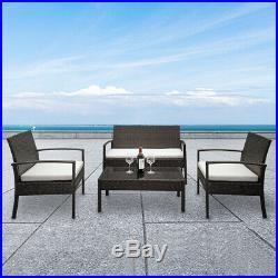 4 PC Rattan Patio Furniture Set Garden Lawn Sofa Cushioned Seat Mix Wicker