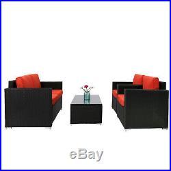 4 PC Rattan Wicker Patio Furniture Sectional Set Garden Lawn Sofa Cushioned Sea