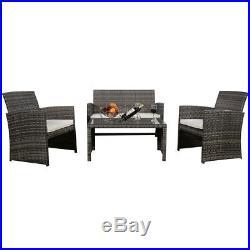 4 PC Wicker Rattan Patio Furniture Set Garden Lawn Sofa Cushioned Seat Mix Gray
