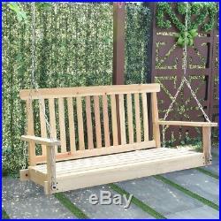 4' Patio Lawn Yard Fir Wood Swing Hanging Seat Relax Chairs Porch Swing Hammock