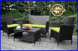 4 Pcs Outdoor PE Rattan Wicker Sofa Chairs Set Table Patio Garden Furniture NEW
