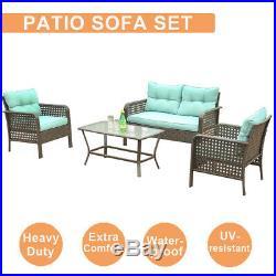 4 Pcs Outdoor Patio Sofa Furniture Set Rattan Wicker Cushion Outdoor Garden US