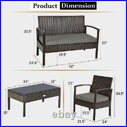 4 Pieces Outdoor Patio Rattan Furniture Set Cushioned Sofa Coffee Table Deck
