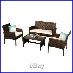 4 Pieces Patio Furniture Wicker Rattan Sofa Set Garden Coffee Table