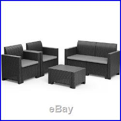 4 Pieces Patio Rattan Furniture Set Sofa Loveseat Cushioned Made In Italy Gray