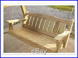 4' Porch Swing Treated Pine Wood Rolled Front Deck Patio Yard Furniture Handmade