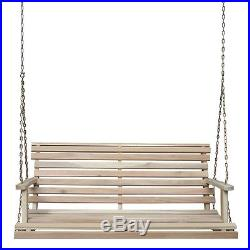 4' Solid Acacia / Teak Porch Swing Natural Unfinished