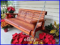 4f Handmade Southern Style Heavy Duty Cedar Porch Swing, 5ft Porch Swing, Patio