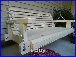 4ft Handmade Southern Style Round Faced Wood Porch Swing Patio Swing Yard Swing