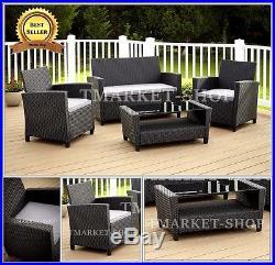 4pc Outdoor Patio Garden Home Furniture Wicker Rattan Modern Cushions Set Dining