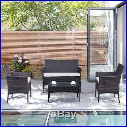 4pcs Outdoor Rattan Patio Furniture Set Garden Lawn Table Sofa Set with Cushion