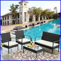 4pcs Rattan Patio Furniture Set Garden Outdoor Sofa Set Cushion Seat Glass Table