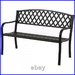 50 Patio Garden Bench Park Yard Outdoor Furniture Steel Frame Porch Chair N33