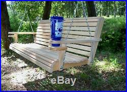 5Ft Cypress Roll Back Porch Swing With Swing Mate Comfort Springs & Cup Holder Arm