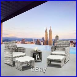5PCS Outdoor Patio Rattan Wicker Sofa Furniture Set Footstool /w Cushions