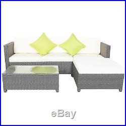 5PCS Outdoor Rattan Wicker Patio Set Garden Lawn Sofa +Chair Furniture Cushioned
