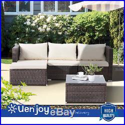 5PCS Outdoor Rattan Wicker Sofa Set Patio Garden Sectional Cushioned Furniture