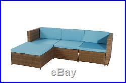 5PCS Patio Furniture Sectional Sofa Set Outdoor Rattan Wicker Sofa Blue Cushions