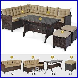 5PCS Patio Rattan Dining Set Cushioned Sofa Ottoman Slat Table Garden Furniture