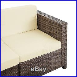 5PC Outdoor Rattan Wicker Patio Set Garden Sectional Sofa Furniture Cushioned