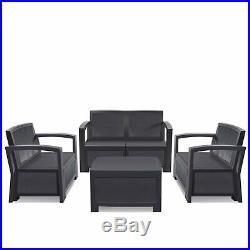 5PC Patio Rattan Wicker Sofa Set Cushined Couch Furniture Outdoor Garden