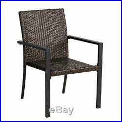 5Pc Outdoor Patio Furniture Rattan Wicker Chair set + FIRE PIT firepits Table