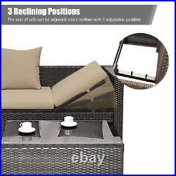 5Pcs Rattan Patio Conversation Furniture Set Adjustable Sofa Cushioned Ottoman