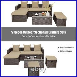 5Pcs Rattan Patio Outdoor Furniture Set Adjustable Sofa Cushioned Ottoman