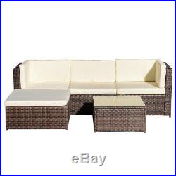 5Piece Rattan Patio Wicker Rattan Outdoor Furniture Sofa Set WithStorage Box Table