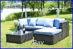 5 PCS Patio Furniture Outdoor Rattan Wicker Sofa Sectional Sofa Set Cushioned