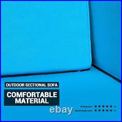 5 PCS Patio Furniture Sectional Sofa Set Outdoor Rattan PE Wicker Cushioned Seat