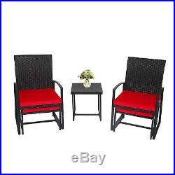 5 PCS Patio Wicker Chair Set With Table Red Cushion Ottoman Outdoor Furniture Yard