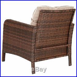 5 PCS Rattan Wicker Furniture Set Sofa Ottoman With Cushions Patio Garden Yard