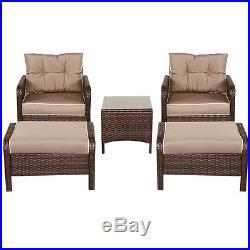 5 PCS Rattan Wicker Furniture Set Sofa Ottoman With Cushions Patio Garden Yard NEW