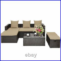 5 PC Patio Rattan Sofa Couch Set Outdoor Garden Recliner Set with Cushion Ottoman