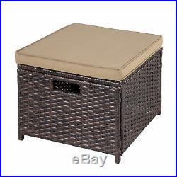 5 Piece Patio Dining Set Wicker Furniture Set Bar Cushioned Outdoor Conversation