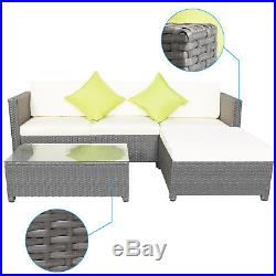 5pc Rattan Wicker Furniture Set Deck Outdoor Patio Garden Sectional PE Sofa