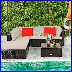 6PCS Outdoor Patio Rattan Furniture Set Cushioned Sectional Sofa Ottoman