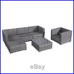 6PC Furniture Set Patio Sofa PE Gray Rattan Couch Black Cushion Covers