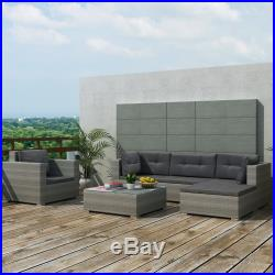 6PC Outdoor Rattan Wicker Sofa Garden Sectional Couch Patio Furniture Set Gray
