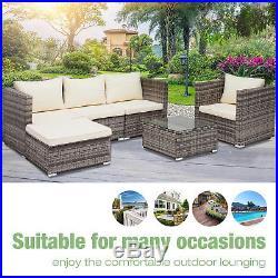 6 PCS Garden Rattan Wicker Sofa Set Cushion Outdoor Patio Sofa Couch Furniture