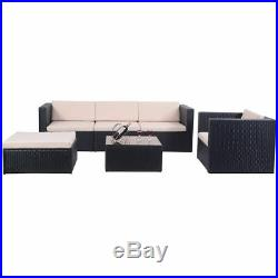 6 PCS Outdoor Patio Rattan Wicker Sectional Furniture Set Table Sofa Cushioned