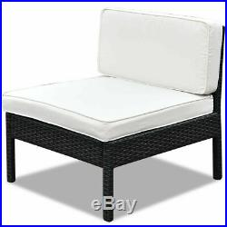 6 PCS Rattan Wicker Patio Furniture Set Steel Frame Sofa Cushioned Black New
