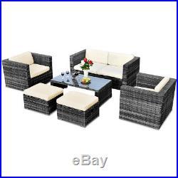 6 PCS Rattan Wicker Sofa Sectional Furniture Set Patio Garden Backyard Gray New