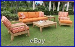6 Pc Large Teak Wood Garden Indoor Outdoor Patio Sofa Set Furniture Pool Atnas