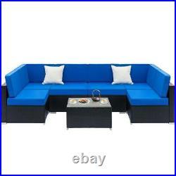 7PCS Outdoor Patio Furniture Wicker Rattan Cushions Sofa Sectional Black Blue