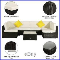 7PCS Outdoor Patio Sectional Furniture Wicker Rattan Sofa Set Garden Backyard US